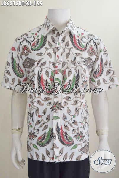 Baju Kemeja Batik Halus Motif Klasik Lengan Pendek Proses Kombinasi Tulis Tampil Terlihat Gagah, Size XL
