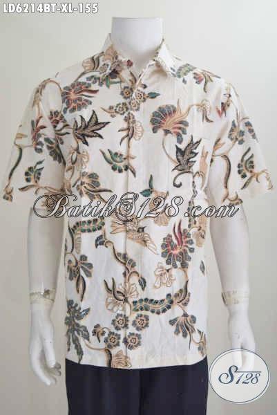Jual Kemeja Batik Motif Bunga Kwalitas Bagus, Hem Batik Kombinasi Tulis Lengan Pendek Ukuran XL Buat Lelaki Dewasa