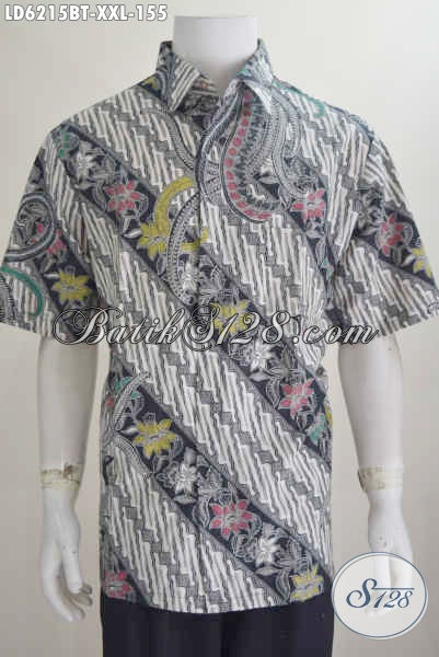 Hem Batik Model Klasik Motif Parang Bunga, Baju Batik Istimewa Model Lengan Pendek Proses Kombinasi Tulis Untuk Seragam Kerja Dan Busana Kondagan [LD6215BT-XXL]