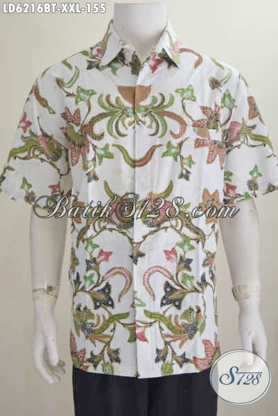 Produk Kemeja Batik Jumbo Buat Cowok Gemuk, Hem Batik Halus Kombinasi Tulis Bahan Adem Buatan Solo Harga 155K, Size XXL