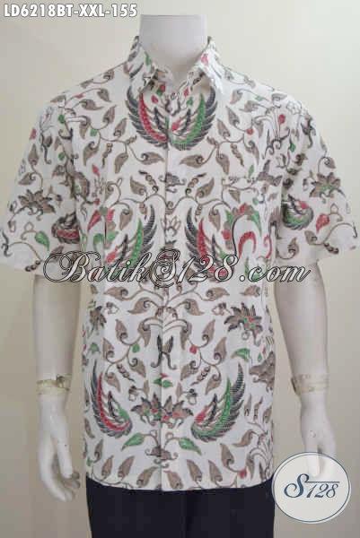Baju Hem Batik Warna Cerah Motif Klasik Kombinasi Tulis, Busana Batik Halus Khas Jawa Tengah Size 3L Cocok Buat Pria Gemuk