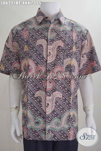 Baju Batik Untuk Pria Gemuk Sekali, Hem Batik Halus Buatan Solo Asli Proses Kombinasi Tulis Model Lengan Pendek, Size XXXL
