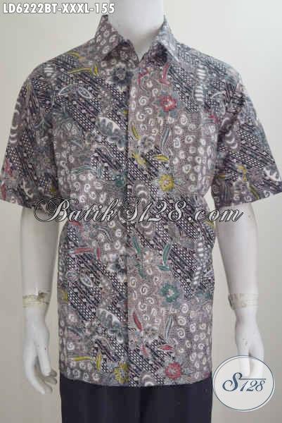 Jual Busana Batik 4L, Kemeja Batik Super Jumbo Bahan Adem Proses Kombinasi Tulis, Spesial Untuk Pria Gemuk Terlihat Istimewa