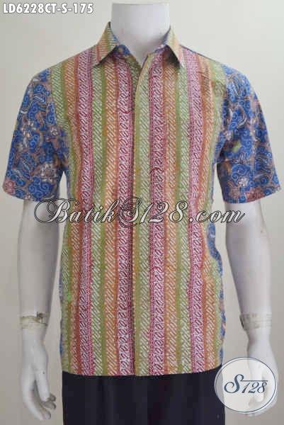 Hem Batik Modis Lengan Pendek Kombinasi Dua Motif, Pakaian Batik Modern Proses Cap Tulis Untuk Lelaki Muda Tampil Makin Gaya [LD6228CT-S]