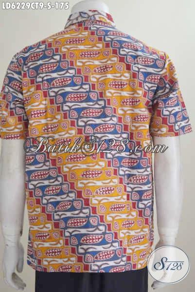 Kemeja Batik Dua Motif Lengan Pendek Buatan Solo Kwalitas Premium Harga Minimum Proses Cap Tulis, Size S