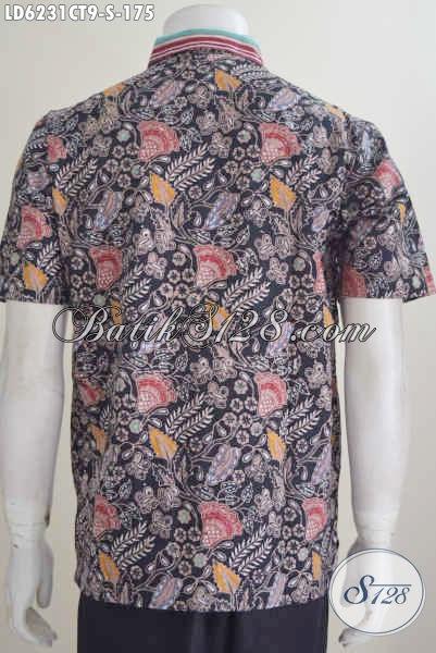 Pakaian Batik Dua Motif Proses Cap Tulis Model Lengan Pendek, Baju Batik Solo Kwalitas Bagus Keren Untuk Penampilan Lebih Mempesona, Size S