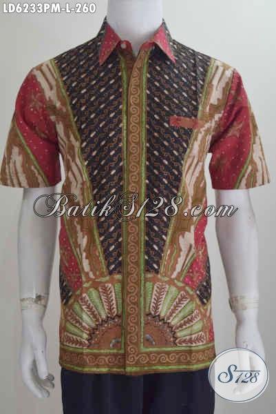 Busana Batik Lengan Pendek Motif Klasik, Kemeja Batik Istimewa Proses Kombinasi Tulis Motif Matahari, Cocok Untuk Rapat Dan Aara Formal, Size L