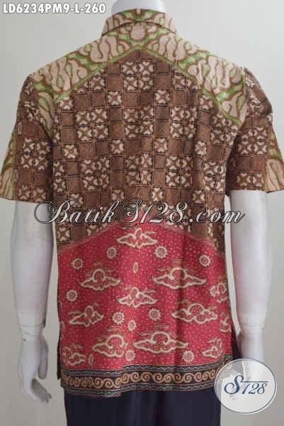 Hem Batik Klasik Halus Kwalitas Mewah Proses Kombinasi Tulis Model Lengan Pendek Non Furing, Elegan Untuk Pergi Ke Kondagan, Size L