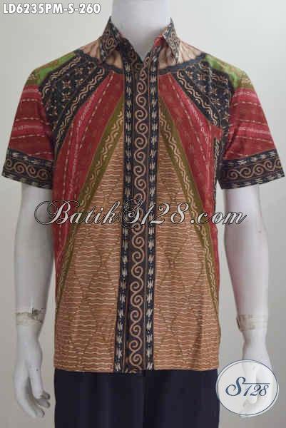 Baju Hem Batik Klasik Ukuran S, Kemeja Batik Pria Muda Size Kecil Bahan Halus Proses Kombinasi Tulis, Bikin Penampilan Terlihat Berwibawa