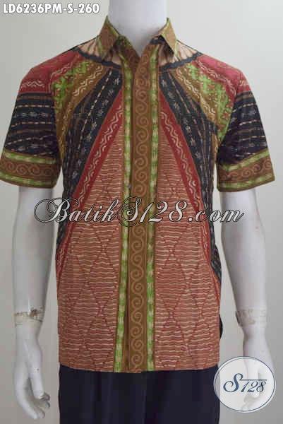 Jual Baju Batik Kwalitas Premium, Hem Lengan Pendek Motif Klasik Kombinasi Tulis Harga 260K, Size S