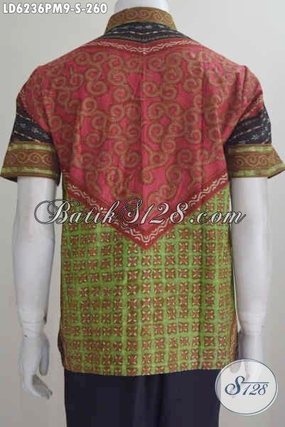 Jual Online Hem Baju Batik Lengan Pendek Motif Klasik, Pakaian Batik Elegan Dan Istimewa Proses Kombinasi Tulis Bahan Adem Nyaman Di Pakai Tiap Hari [LD6236PM-S]