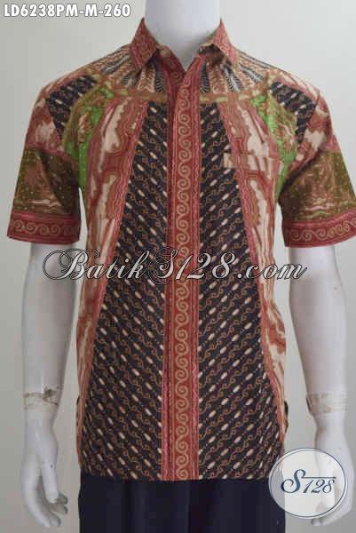 Baju Hem Batik Kombinasi Tulis Motif Klasik, Pakaian Batik Modis Buatan Solo Ukuran M Untuk Tampil Berkarakter