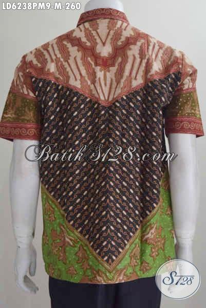 Baju Batik Hem Seragam Kerja Lengan Pendek, Produk Busana Batik Elegan Motif Klasik Ukuran M Bahan Adem Proses Kombinasi Tulis Harga 260K [LD6238PM-M]
