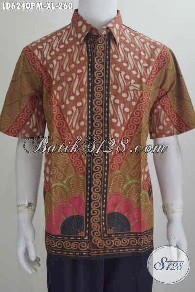 Baju Hem Batik Lengan Pendek Kwalitas Premium, Pakaian Batik Istimewa Buatan Solo Bahan Adem Yang Nyaman Di Paki Tiap Hari, Size XL