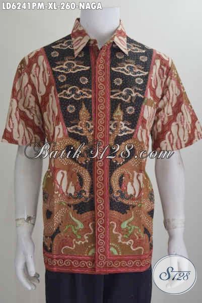 Baju Batik Halus Buatan Solo, Hem Batik Elegan Motif Klasik Kombinasi Tulis, Busana Batik Istimewa Buatan Solo Indonesia Untuk Terlihat Lebih Gagah, Size XL