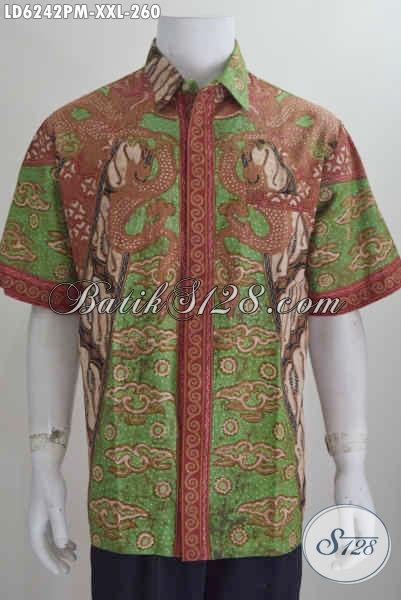 Kemeja Batik Elegan Model Lengan Pendek, Pakaian Batik Halus Istimewa Buatan Solo, Produk Busana Batik Modis Trend 2017 Bahan Halus Proses Kombinasi Tulis Ukuran 3L Untuk Cowok Gemuk [LD6242PM-XXL]