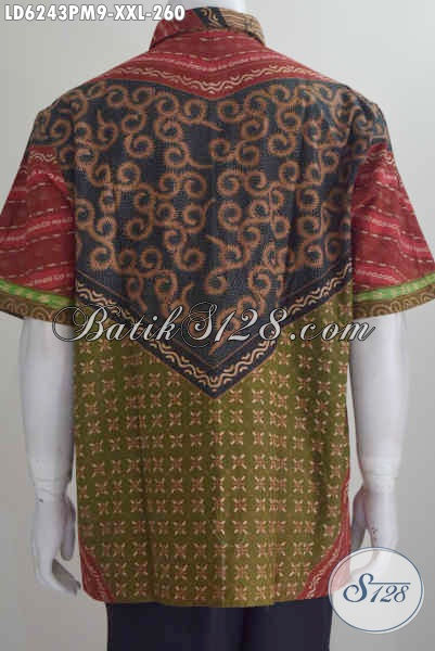 Pakaian Batik Lengan Pendek Mewah Halus Proses Kombinasi Tulis, Baju Batik Jumbo Istimewa Kwalitas Bagus Untuk Acara Motif Klasik, Size XXL
