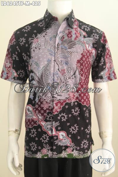 Sedia Kemeja Batik Mewah Premium, Produk Baju Batik Istimewa Model Lengan Pendek Mewah Buatan Solo Proses Tulis Untuk Penampilan Lebih Istimewa, Size M