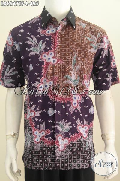 Baju Batik Lengan Pendek Mewah, Hem Batik Halus Motif Bagus Proses Full Tulis Full Furing Buat Pria Terlihat Sempurna, Size L