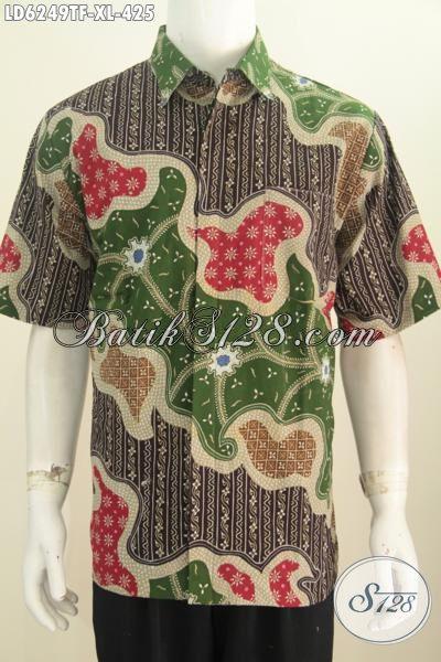 Produk Baju Batik Elegan Dan Mewah, Busana Batik Halus Proses Tulis Model Lengan Pendek Nan Istimewa Untuk Kerja Dan Acara Resmi, Daleman Full Furing Size XL