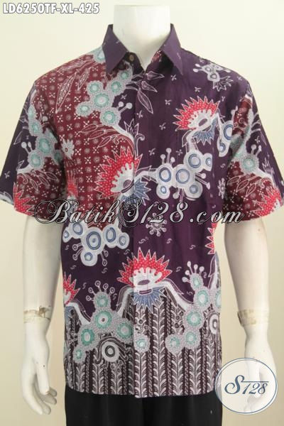 Produk Baju Batik Pria Dewasa Motif Mewah, Hem Batik Premium Lengan Pendek Proses Tulis Kwalitas Istimewa Di Lengkapi Furing Lebih Modis Dan Berkelas, Size XL