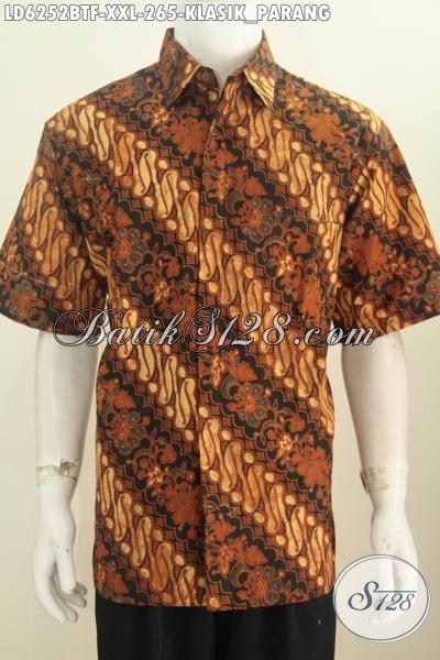 Jual Kemeja Batik Parang Kwalitas bagus, Busana Batik Mewah Halus Khas Jawa Tengah, Baju Batik Elegan Kombinasi Tulis Pakai Furing, Size XXL