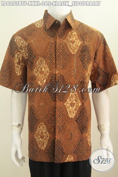 Kemeja Batik Super Jumbo, Baju Batik Halus Proses Kombinasi Tulis Buatan Solo Model Lengan Pendek Istimewa Untuk Penampilan Lebih Berwibawa, Size XXXL