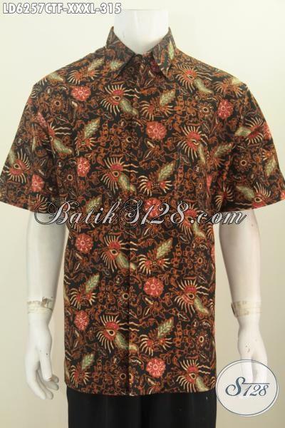 Baju Batik pria 3L bahan Halus Proses Motif Cap Tulis, Kemaja Batik Kwalitas Premium Daleman Full Furing Untuk Penampilan Lebih Berkelas, Size XXL