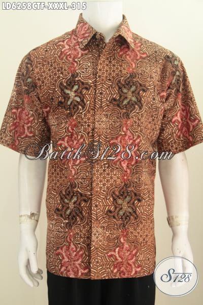 Kemeja Batik Klasik 4L, Busana Batik Elegan Motif Mewah Proses Cap Tulis Model Lengan Pendek Pake Furing Untuk Pria Gemuk Sekali