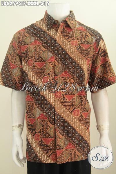 Kemeja Batik Istimewa Buatan Solo, Pakaian Batik Premium Proses Cap Tulis Model Lengan Pendek Daleman Full Furing Pria Gemuk Terlihat Gagah Berwibawa