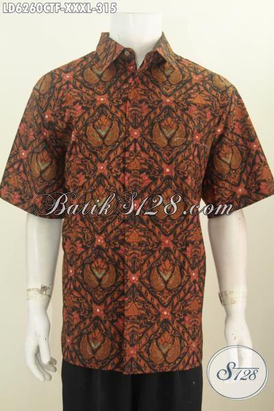 Baju Batik Pria Ukuran Super Jumbo, Hem Batik 4L Bahan Adem Proses Cap Tulis Lebih Mewah Dengan Daleman Full Furing Harga 315K