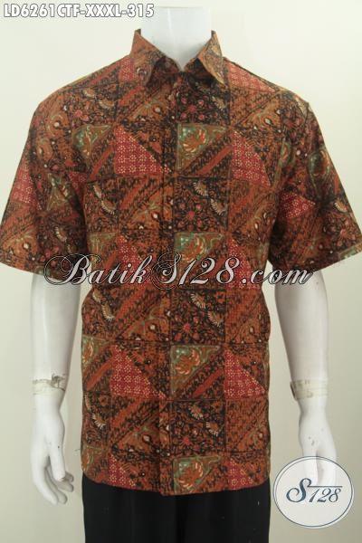Baju Hem Batik Halus Kwalitas Premium, Hadir Dengan Motif Elegan Nan Mewah Proses Cap Tulis Daleman Pake Furing Tampil Lebih Keren, Size XXXL