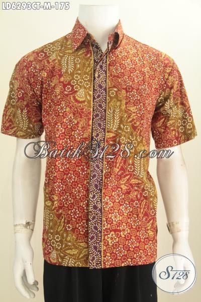 Produk Baju Batik Lengan Pendek Di Jual Online, Hem Batik Lengan Pendek Modis Motif Bagus Proses Cap Tulis Ukuran M