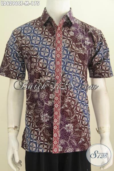Toko Baju Batik Online Sedia Kemeja Lengan Pendek Modis Desain Mewah Motif Bagus Proses Cap Tulis Ukuran M, Modis Untuk Ke Kantor