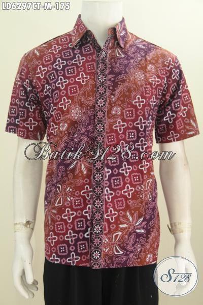 Jual Kemeja Batik Keren Kwalitas Istimewa, Pakaian Batik Lengan Pendek Proses Cap Tulis Bahan Halus Harga 100 Ribuan, Size M