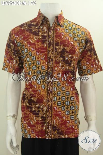 Produk Pakaian Batik Istimewa Khas Jawa Tengah, Kemeja Batik Halus Cap Tulis Desain Berkals Size M Cocok Buat Jalan-Jalan