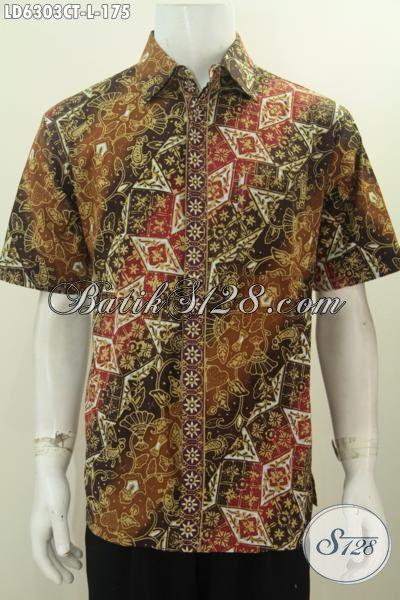 Baju Batik Pria Model Terbaru, Hem Batik 2016 Yang Cocok Untuk Santai Dan Formal, Bahan Halus Motif Cap Tulis 175K, Size L