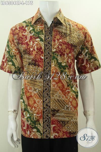 Jual Online Baju Batik Lengan Pendek Keren Dan Halus, Hem Batik Cap Tulis Model Terkini Yang Bini Pria Tampil Lebih Gaya, Size L