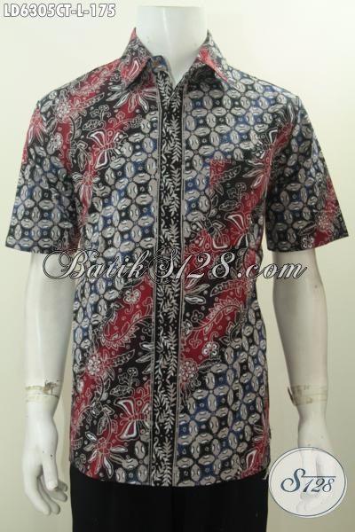 Toko Online Produk Baju Batik Solo, Jual Hem Lengan Pendek Motif Bagus Dengan Kombinasi warna Keren Proses Cap Tulis, Hem Batik Ukuran L Istimewa Untuk Acara Formal
