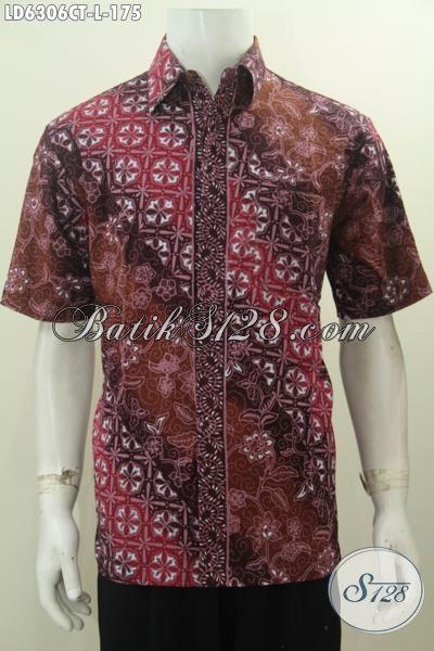 Baju Batik Modis Model Lengan Pendek, Kemeja Batik Kwalitas Istimewa Buatan Solo Indonesia Bahan Adem Proses Cap Tulis Untuk Tampil Mempesona, Size L