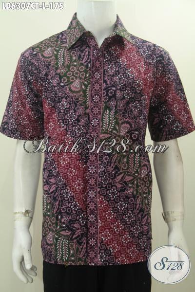 Kemeja Batik Modis Lengan Pendek, Pakaian Batik Istimewa Motif Bagus Proses Cap Tulis Ukuran L Cocok Buat Seragam Kerja Kantoran