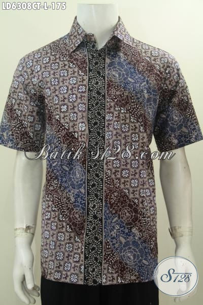 Baju Batik Pria Motif Trendy, Kemeja Batik Modis Model Lengan Pendek Tidak Pakai Furing Untuk Penampilan Lebih Istimewa, Size L