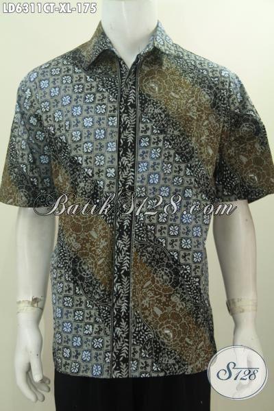 Batik Kemeja Lengan Pendek Istimewa, Hem Batik Cap Tulis Kwalitas Bagus Buatan Solo Untuk Penampilan Lebih Trendy, Size XL
