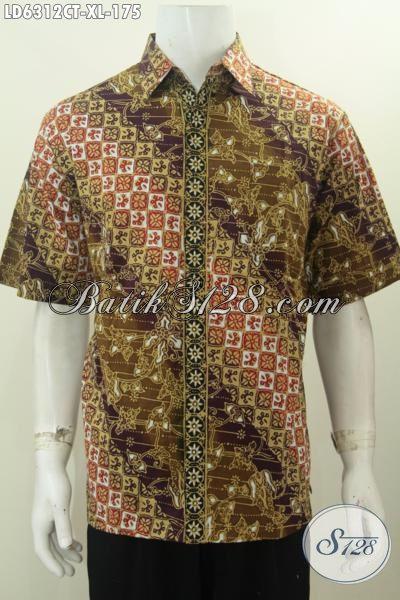 Jual Kemeja Batik Lengan Pendek Online, Hem Batik Pria Dewasa Ukuran XL Motif Mewah Cap Tulis Harga 170 Ribuan