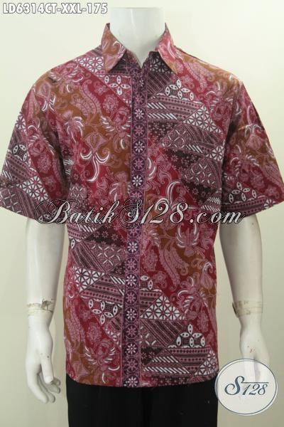 Di Jual Online Pakaian Batik Lengan Pendek Untuk Pria Gemuk, Baju Batik Jumbo 3L Proses Cap Tulis Motif Trendy Untuk Tampil Lebih Gagah [LD6314CT-XXL]