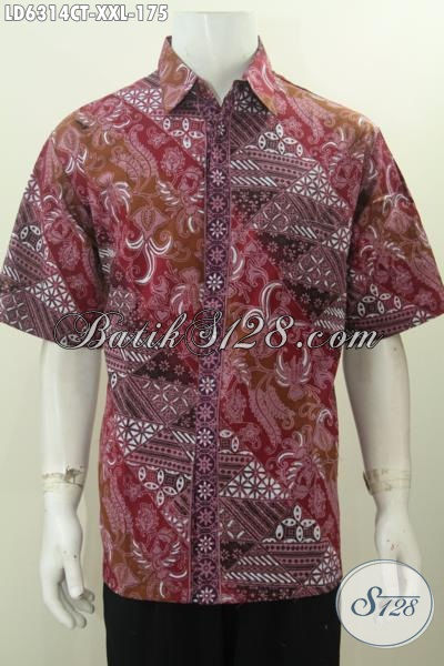 Baju Hem Lengan Pendek Bahan Batik Cap Tulis, Baju Batik Jumbo Size XXL Bahan Adem Harga Terjangkau