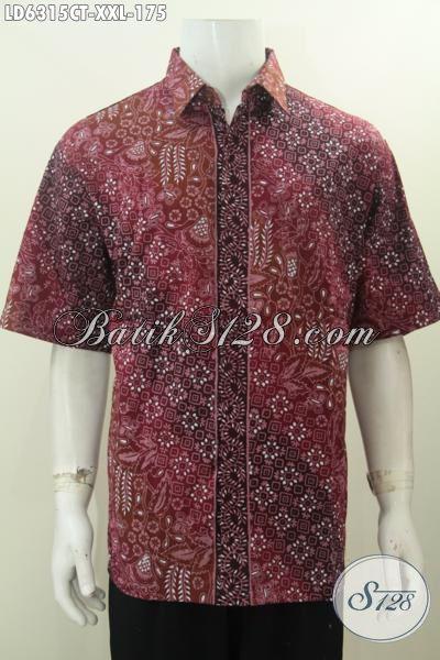 Pusat Upgrade Fashion Batik, Sedia Kemeja Batik Lengan Pendek Spesila Buat Lelaki Gemuk, Baju Hem Batik Modern Size 3L Bahan Halus Proses Cap Tulis Hanya 100 Ribuan