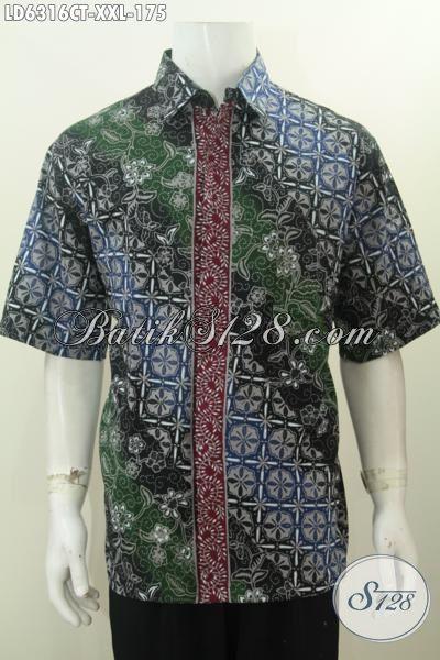 Produk Pakaian Batik Istimewa Model Lengan Pendek, Hem Batik Modis Halus Ukuran XXL Bahan Adem Proses Cap Tulis Di Jual Online 175K