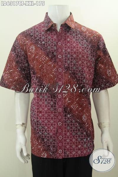 Baju Batik Hem Istimewa Lengan Pendek Size Jumbo, Produk Baju Batik Modis Kwalitas Istimewa Buatan Solo Untuk Penampilan Makin Keren, Size XXL