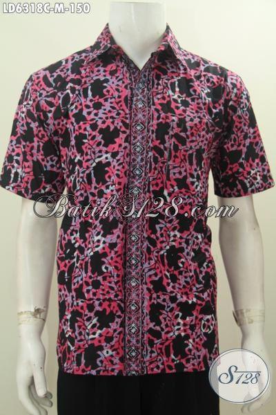 Kemeja Batik Motif Unik Untuk Pria Muda, Hem Batik Lengan Pendek Keren, Berbahan Halus Proses Cap Warna Trendy, Size M